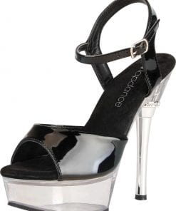 Black and Clear Platform Sandal w/ Crystal Accent and Quick Release Strap 6in Heel Size 7