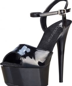 Black Platform Sandal With Quick Release Strap 6in Heel Size 8