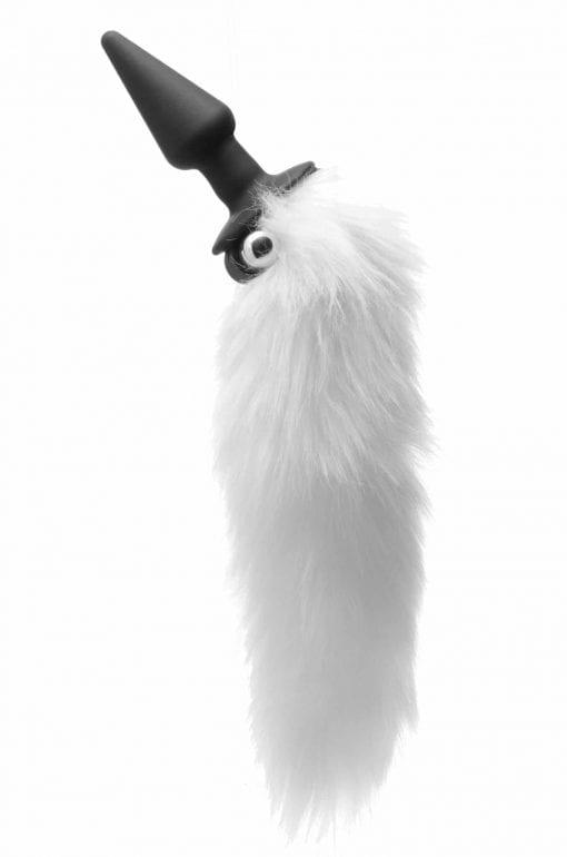 White Fox Tail Vibrating Anal Plug