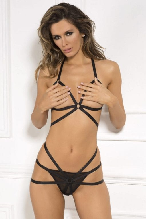 Misbehave Bondage Bra 2 Pc Set