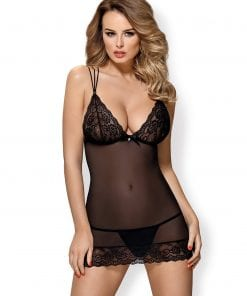 Mesh and Lace Chemise And Thong