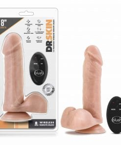 Dr Skin 8in 10 Function Wireless Remote Dildo Beige