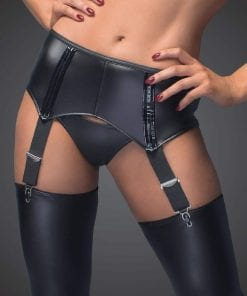 Power Wetlook Garter Belt With Back Lacing