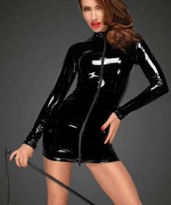PVC Mini Dress With Black 2 Way Front Zipper