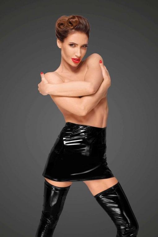 PVC Mini Skirt With Hidden Side Zipper