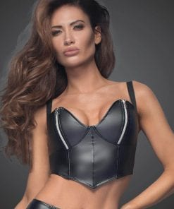 Power Wetlook Top With Silver Zippers