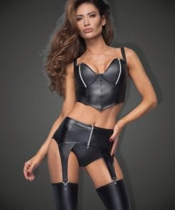 Power Wetlook Garter Belt With Silver Zipper