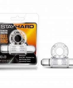 Stay Hard 10 Function Vibrating Mega Bull Ring Clear