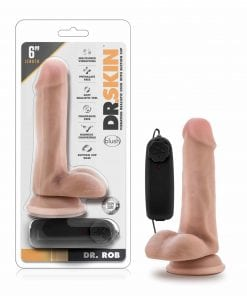Dr Skin Dr Rob 6in Vibrating Cock with Suction Cup Vanilla