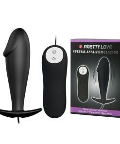 "Vibrating Curved Anal Butt 4"" x 1.2"" Black"