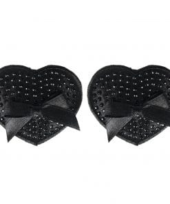 Black Satin Heart Pasties w Black Stone and Bow