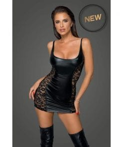 Power Wetlook Dress w Lace Inserts