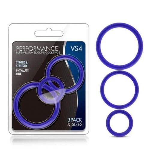 Performance Silicone Cock Ring 3 Pc Set Indigo
