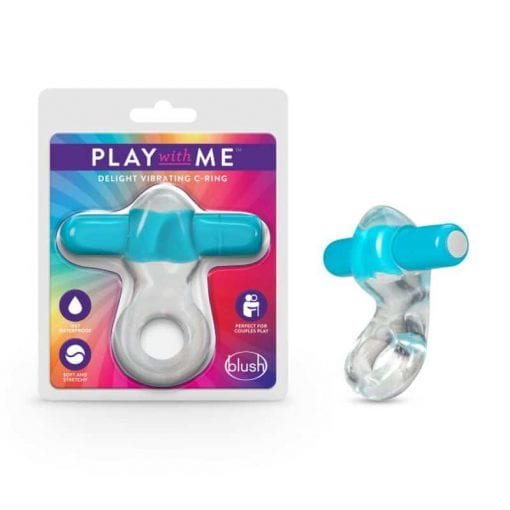 Play  with  Me Vibrating Cock Ring Blue