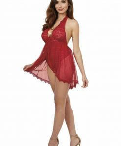 Lace Halter Teddy Rouge
