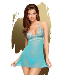 Bedtime Story Mini Dress w Thong Turquoise