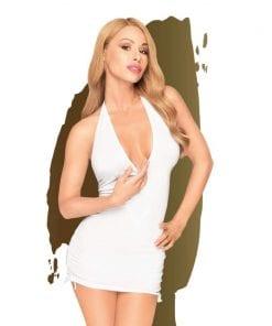 Earth Shaker V-neck Mini Dress w Gathering and Thong White