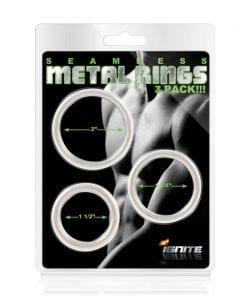 Seamless Metal Cock Ring 3 Pc Set
