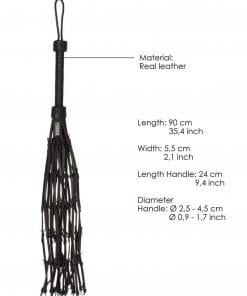 Saddle Leather With Barbed Wire Flogger 30 Inches - Black