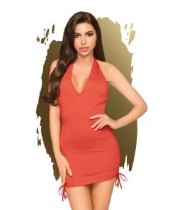 Earth Shaker V-neck Mini Dress w Gathering and Thong Red
