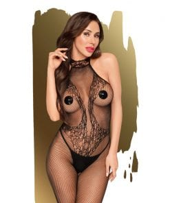 First Lady Crochless Highneck Bodystocking w Lace Details