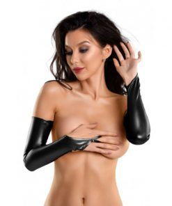 Glossy Wetlook Above the Elbow Gloves Kelly