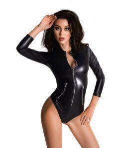 Glossy Wetlook Bodysuit w Zip Alessia